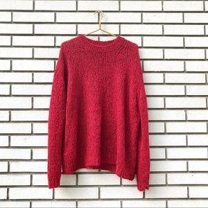 Free People Red Alpaca Oversized Sweater